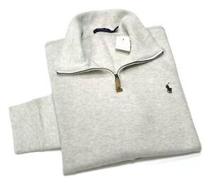 Polo Ralph Lauren Men's Quarter Zip Cotton Sweater In Faded Cream RRP£120