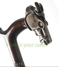 WOODEN WALKING STICK or CANE HANDMADE CARVED CRAFTED STAFF WOOD ART GIFT - HORSE