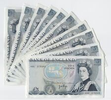 J.B. Page Wellington Five Pound £5 Banknote (Issued 1970's) Circulated VF- EF