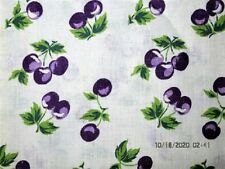 VTG 38X43 PURPLE CHERRIES NOVELTY COTTON FEEDSACK FABRIC QUILT CRAFT PROJECT SEW