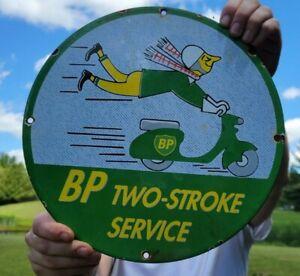 VINTAGE OLD BP TWO-STROKE MOTOR OILS PORCELAIN ENAMEL GAS STATION PUMP OIL SIGN