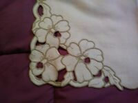 """Madeira Embroidered and Cutwork 42"""" by 16"""" Linen Table Runner"""