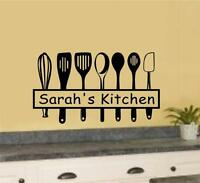 Custom Name Kitchen Utensils Vinyl Decal Wall Stickers Home Kitchen Decor Art