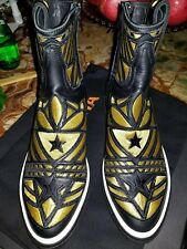 Mexicana NEPTUNE Gold&Black Leather high tops/Boots Sneakers 8US 38IT