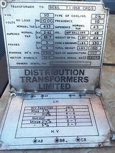 Vintage 1969 Distribution Transformers Ltd Id Sign