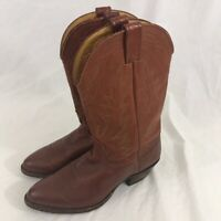 Nocona Mens Cowboy Western Boots Brown Leather Round Toe Pull On USA 8.5