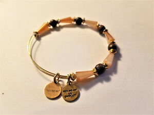Alex and Ani Gold Crystal and Wood Beaded Bracelet In Goldtone