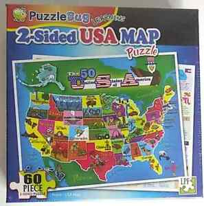 60 PIECE PUZZLEBUG JIGSAW PUZZLE - MAP OF THE USA 2 Sided NEW Sealed Puzzle Bug
