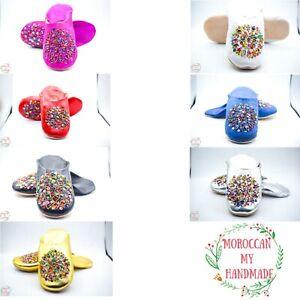 Moroccan Slippers Sequins Leather Babouche Women Fancy Beads Sheepskin Handmade