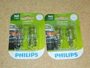 (2) NEW PHILIPS 7443LLB2 LONGER LIFE PAIR OF TAIL LIGHT BULBS 13.5V PACKS OF 2