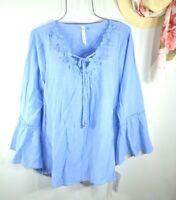 New Women's Summer Blue Crochet Lace Boho Tunic Peasant Top Blouse Shirt XL NWT