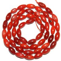 CRL221 Red 6mm Oval Rice Bamboo Coral Gemstone Beads 16""