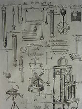 1752 ANTIQUE PRINT ~ PNEUMATICKS PNEUMATICS BAROMETER THERMOMETER HYGROMETER