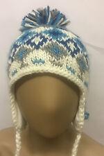 Barts Girls kids Kay Inka White Bobble Hat With Ear Flaps Skiing Holiday XMAS