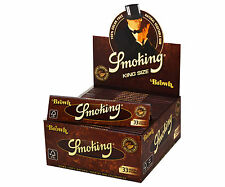 1 Box Smoking BROWN King Size Papers 50 Heftchen x 33 Blättchen Long Papers