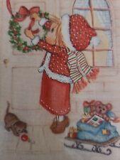 New listing Vtg Hallmark Betsey Clark Christmas Greeting Card Girl Kitten Wreath unused 70s