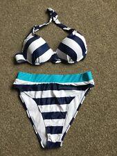 High Waisted Bikini Halter Neck Blue/white Stripe Size L