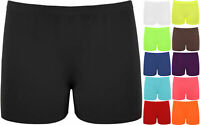 Ladies Womens New Stretch Elasticated Plain Hot Pants Girls Dance Gym Shorts
