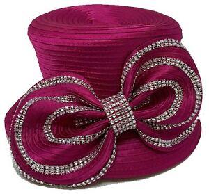 Church DURBY Dress HAT SINGLE BOW WITH RHINESONE