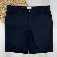 St. Johns Bay Womens Size 12P Petit Black Cotton Stretch Bermuda Walking Shorts