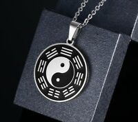 Vintage Mens Punk Necklace Stainless Steel Taoism Yin Yang Tai Chi Pendant Gift