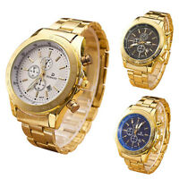 Men's Luxury Dress Gold Watch Stainless Steel Analog Quartz 3 Eyes Wrist Watches