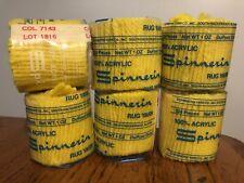 Vtg Nos Lot 6 Skeins Sunny Yellow Spinnerin Latch Hook Rug Yarn