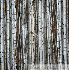 BonEful Fabric FQ Cotton Quilt White Brown Wood Winter Snow Real Birch Tree Camo