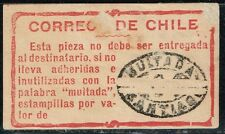 CHILE 1908 POSTAGE DUE OFFICIAL ADHESIVE LABEL STAMP MULTA USED #3 scarce item!!