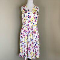 Banana Republic Womens Size 6 Sleeveless Dress Floral Iris Pink Blue White (W20)