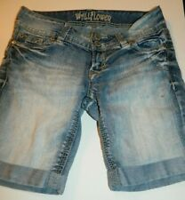 WALLFLOWER BERMUDA JEAN SHORTS, DISTRESSED, WOMEN'S JR SZ 3 {#N84}