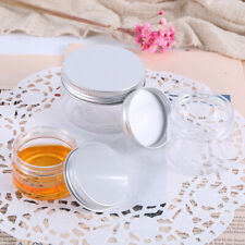 UK 100ml Aluminum cap Plastic Sample Pots Jars Glitter Make Up Cosmetic Travel