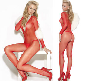Elegant Moments Sexy Red Deep V Neck Crotchless Bodystocking/Body O/S