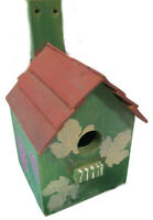 VTG Solid Wood Birdhouse One-of-a-Kind Handpainted Grapes,Vines and Leaves