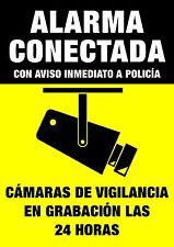 Pegatina Aviso Cartel Disuasorio Alarma Conectada Policía Camara Vigilancia 24h