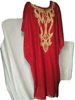 Meetu Magic African Scene OS Plus Size Red Gold Dress Ceremony Gown Costume