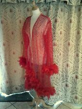 Drag Queen High fronted Red coat with red feathers 20/22