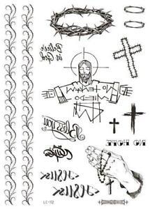 Black Fashion Temporary Tattoo God Cross Praying Hands  *UK SELLER* /-m864-/