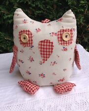 FABRIC WEIGHTED OWL DOOR STOP ~ SHABBY CHIC