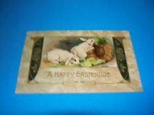Antique Postcard  EASTERTIDE Bunnies rabbits  Germany unused