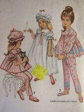 Darling VTG 60s SIMPLICITY 5080 Girls Pajamas Nightgown & Cap PATTERN 4/23B
