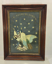 Antique Embroidery of Eagle and Stars E Pluribus Unum In Wood Frame Under Glass