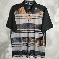 Oakley Men's Aero Stripe Polo Shirt Regular Fit Blackout Black/Gray/Orange