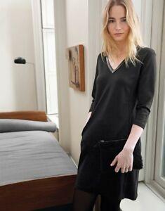 The White Company Deep V Leather Trim 3/4 sleeve Winter Dress 8 10 14 RP £98 NWT