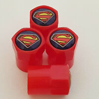 SUPERMAN Red Plastic Valve Dust caps all models more colors All Cars and Bikes