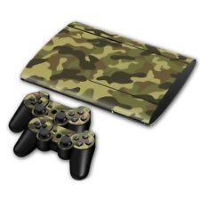 PS3 Super Slim Army Camo Console Skin Decal Sticker + 2 Controllers Full Set