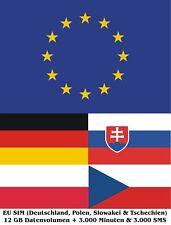 EU SIM (Tschechien, Slowakei, Polen & Deutschland) mit 12 GB und Telefonie Trio