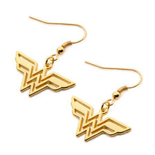 Wonder Woman Gold Plated Logo Symbol Dangle Drop Earrings Ear Rings Jewelry NIP
