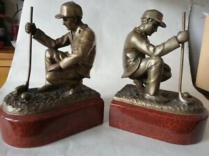 Golfer Bookends Ceramic And Metal