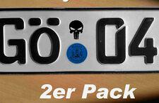 2x Punisher Totenkopf  Kennzeichen Nummernschild Aufkleber Plakette 35x25mm